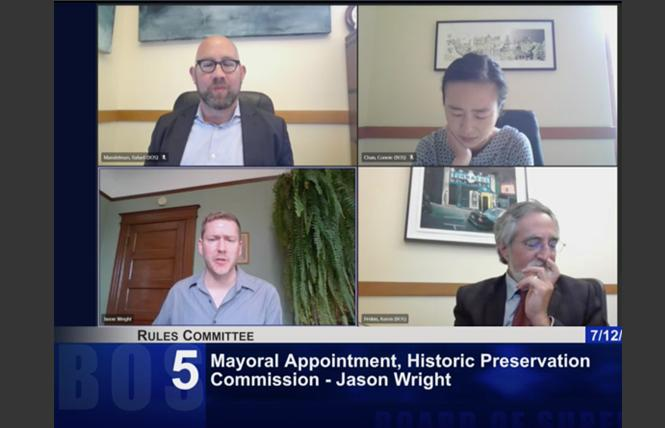 Jeffrey Wright, lower left, was approved by the San Francisco Board of Supervisors to serve on the Historic Preservation Commission. Photo: Screengrab