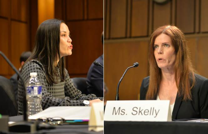 Gina Ortiz Jones, left, and Shawn Skelly have been confirmed by the U.S. Senate to high-level defense posts in the Biden administration. Photos: Michael Key/Washington Blade