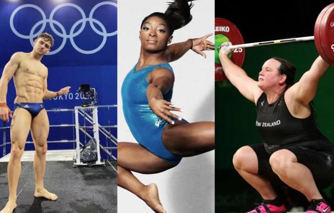 Diver Tom Daley, gymnast Simone Biles, weightlifter Laurel Hubbard
