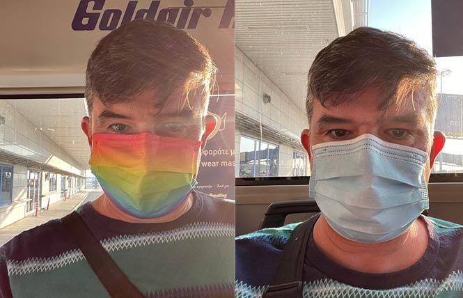 Scott Schmidt was told he could not fly on Lufthansa wearing his rainbow-colored surgical face mask when he left Athens for his home in Los Angeles and replaced it with a blue one he had in his carry-on luggage. Photo: Courtesy Scott Schmidt