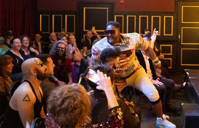 Tyson Check'in performed at the Dandy drag king show at Oasis in July. Photo: Sloane Kantor via Facebook