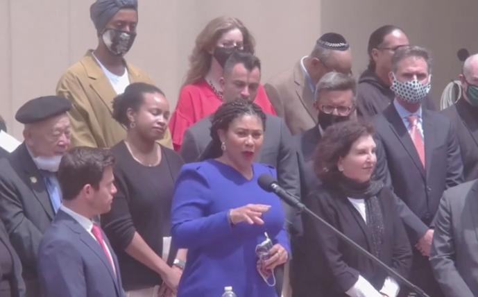 San Francisco Mayor London Breed denounced anti-Semitism at a news conference July 29 at Congregation Emanu-El. Photo: Screenshot