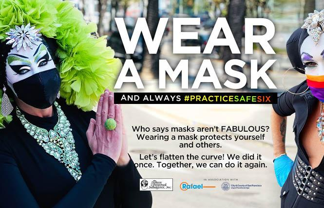 Sister Roma of the Sisters of Perpetual Indulgence, left, joined a mask campaign last fall organized by San Francisco Mayor London Breed. Photo: Courtesy Facebook