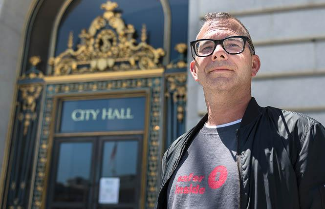 Gary McCoy started a hunger strike outside San Francisco City Hall August 1 and ended it two days later. Photo: Christopher Robledo