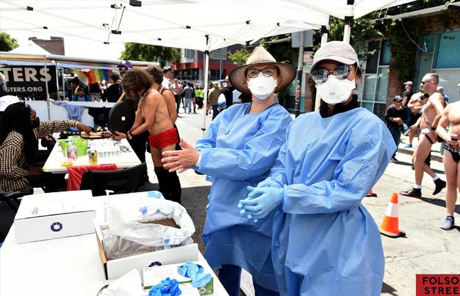Health workers offered COVID-19 testing and vaccines at the recent Folsom Street Market outdoor event. Photo: Gooch