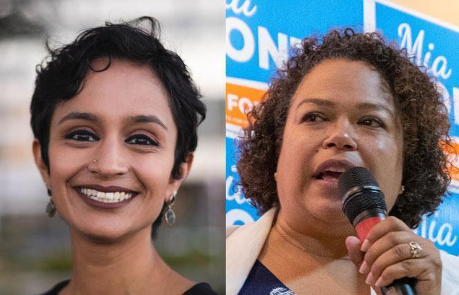 Neither Janani Ramachandran, left, nor Mia Bonta received 60% in the East Bay Stonewall Democratic Club's endorsement vote August 3. Photos: Ramachandran, Courtesy the candidate; Bonta, Jane Philomen Cleland