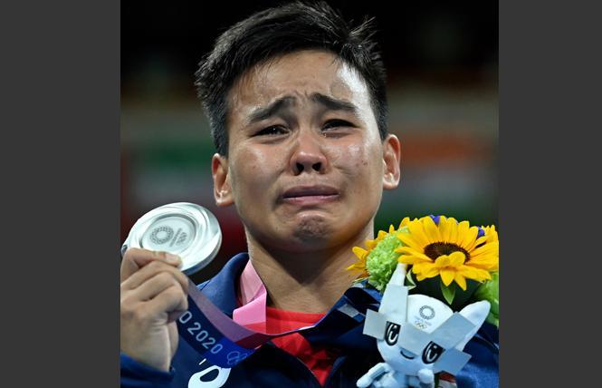 Out Filipina boxer Nesthy Petecio won a silver medal at the Tokyo Olympics. Photo: Screenshot