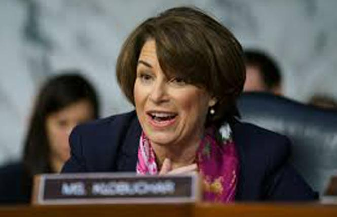 Senator Amy Klobuchar (D-Minnesota) and 12 Senate colleagues sent a letter to Secretary of State Antony Blinken asking about the treatment of LGBTQ refugees and asylum seekers. Photo: Courtesy NBC News