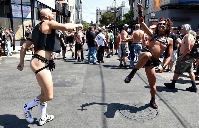 People danced in the street at the Folsom Street Market event July 25. Photo: Gooch