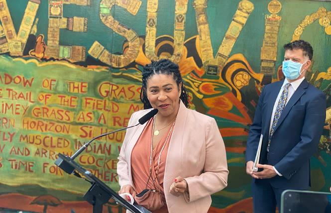 San Francisco Mayor London Breed, left, and Health Director Dr. Grant Colfax were in North Beach August 12 to announce the city's new order requiring people to show proof of a COVID vaccine for many indoor businesses and large indoor events like theaters. Photo: John Ferrannini
