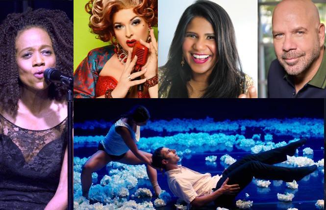 (L-R) Paula West, Katya Smirnoff-Skyy, comics Vijai Nathan and Jason Stuart; (lower) ODC/Dance