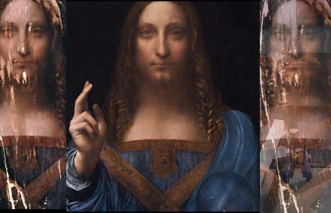 The alleged Leonardo da Vinci painting, 'Salvator Mundi,; bnefore and after restoration