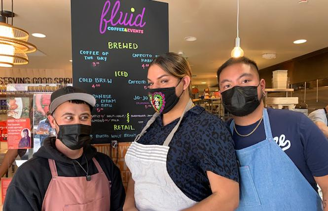 Fluid Cooperative Cafe owners Shannon Amitin, left, Santana Tapia, and JoJo Ty welcomed customers to the new space. Photo: Sari Staver