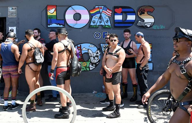 People line up outside the Powerhouse bar during Folsom Street Market in late July. Photo: Gooch