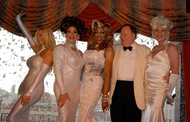 """Harry Denton, fourth from left, welcomed guests at the """"Sunday's A Drag"""" Christmas show in 2010. Donna Sachet, who ran the show, is at right. At far left is Cassandra Cass, who is joined by fellow performers Kendra Monroe and Mahlae Balenciaga. Photo: Steven Underhill"""