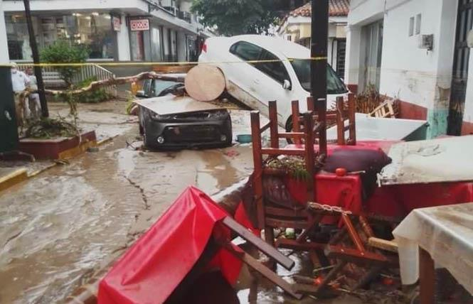 Hurricane Nora skirted past Puerto Vallarta, causing the rivers to swell and damaging parts of the Zona Romantica overnight on August 28 in the popular coastal Mexican resort town. Photo: Courtesy Facebook