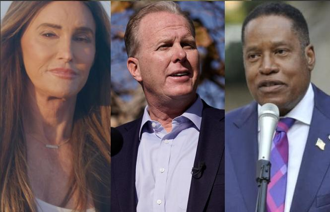 Three of the Republican candidates running to replace Governor Gavin Newsom are, from left, Caitlyn Jenner, Kevin Faulconer, and Larry Elder. Photos: Jenner, courtesy the candidate; Faulconer, AP; Elder, courtesy the candidate