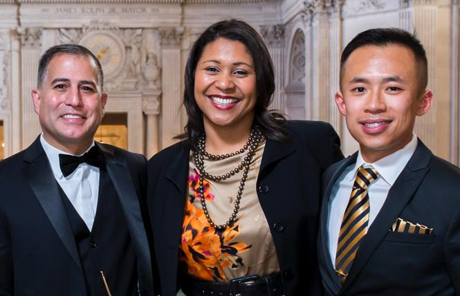 Assistant District Attorney Gregory Stuart Flores, left, Mayor London Breed, and Film Commissioner Jack Song attended an event at City Hall. Photo: Courtesy Jack Song