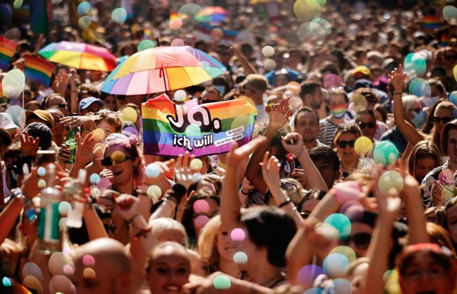 People demonstrated at the September 4 Pride parade in Zurich for the rights of the LGBTQI community. Photo: Michael Buholzer/AP