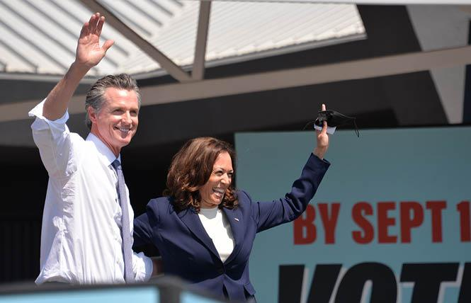 Governor Gavin Newsom welcomed Vice President Kamala Harris to San Leandro Wednesday where she campaigned in opposition to the September 14 recall election. Photo: Bill Wilson
