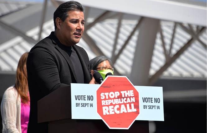 California Insurance Commissioner Ricardo Lara, the only out gay statewide elected official, spoke against the recall of Governor Gavin Newsom at the September 8 rally in San Leandro. Photo: Bill Wilson