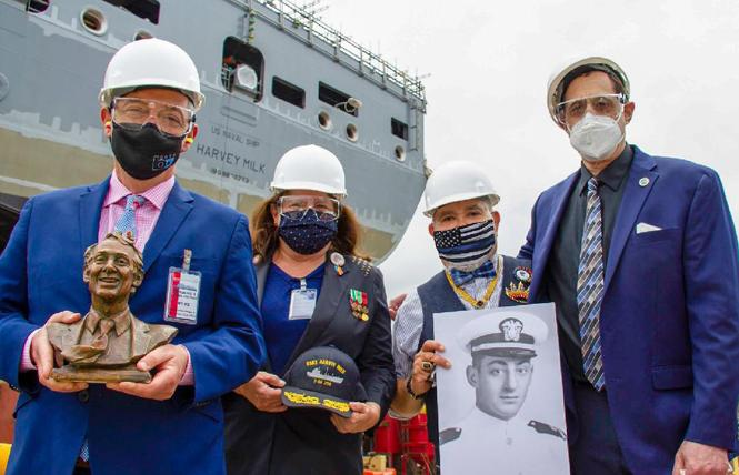 Bevan Dufty, left, joined veteran Morgan Hurley, Commissioner Nicole Murray Ramirez, and Stuart Milk in May for a look at the USNS Harvey Milk in San Diego. Photo: Courtesy International Imperial Court