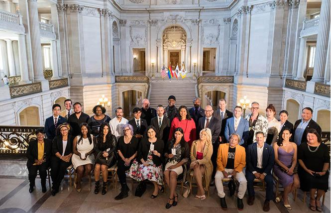Mayor London Breed, center, swore in members of the San Francisco Human Rights Commission's new LGBTQI+ Advisory Committee in June; the group held its first meeting September 20. Photo: Christopher Robledo