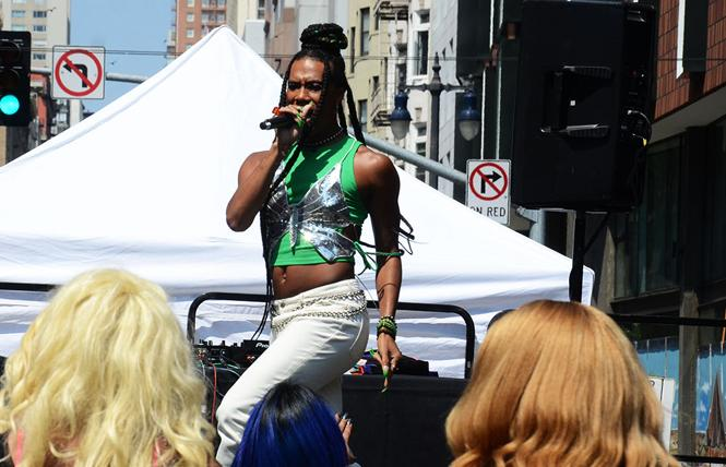 Saturn Rising was part of the stage entertainment during The Riot Party in San Francisco's Transgender District August 29. The district was one of 17 organizations that received COVID-related grant funds from Horizons Foundation. Photo: Rick Gerharter