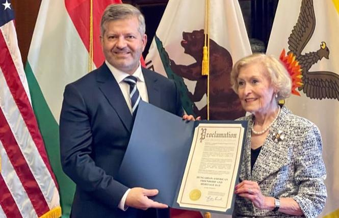 Hungarian diplomat András Doncsev, left, and Honorary Consul of Hungary for Northern California Eva E. Voisin, were photographed at a San Francisco Office of Protocol event celebrating the National Day of Hungary August 20. Photo: Courtesy Honorary Consul of Hungary for Northern California