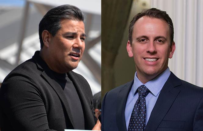 Gay California Insurance Commissioner Ricardo Lara (D), left, has drawn a Democratic challenger, Assemblyman Marc Levine, for next year's primary. Photos: Lara, Bill Wilson; Levine, Courtesy Levine's Assembly office