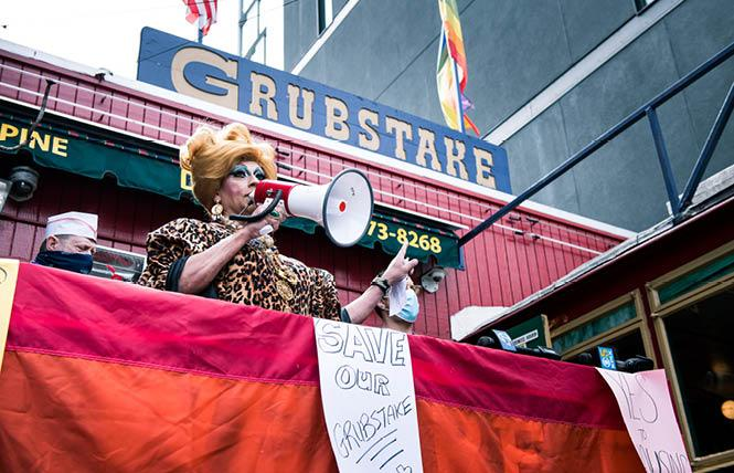 Empress Juanita MORE! speaks about the importance of Grubstake Diner's housing proposal during a rally September 27. Photo: Christopher Robledo