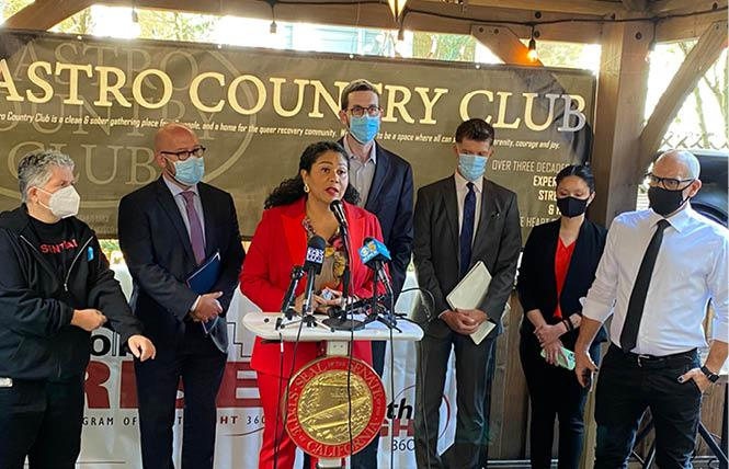Mayor London Breed spoke at a news conference September 28 at the Castro Country Club with other officials, urging Governor Gavin Newsom to sign state Senator Scott Wiener's Senate Bill 110, a substance use treatment bill. Photo: John Ferrannini