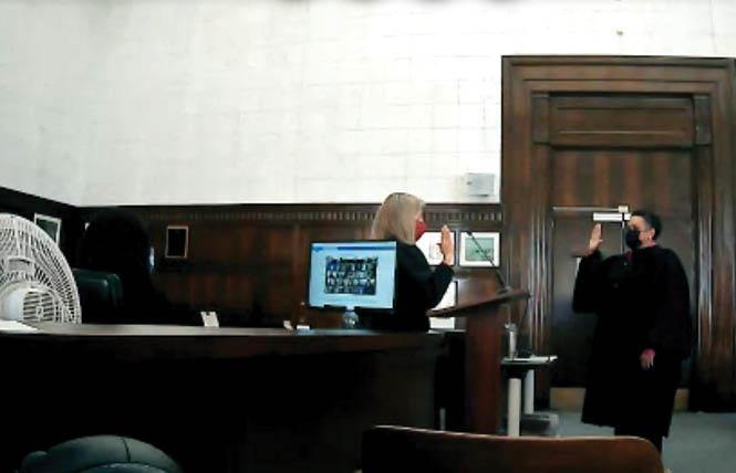 Alameda County Superior Court Judge Terri Evans, right, was sworn in October 4 by Presiding Judge Tara Desautels. Photo: Screenshot