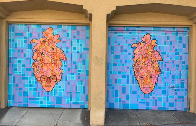 A mural of medical cannabis pioneers Mary Jane Rathbun, aka Brownie Mary, left, and Dennis Peron brightens a garage in San Francisco's Castro LGBTQ neighborhood. Photo: Sari Staver