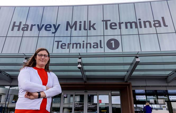 Jane Natoli, standing outside Harvey Milk Terminal 1 at San Francisco International Airport, became the first trans person appointed to the airport commission when she was sworn in October 7. Photo: Courtesy Mayor's Office