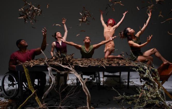 AXIS Dance's 'Roots Above Ground' (L to R) DeMarco Sleeper, Louisa Mann, JanpiStar, Sonsherée Giles, and Yuko Monden Juma