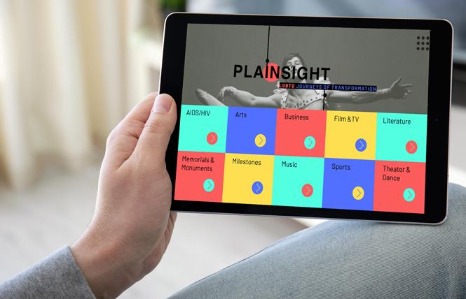 """The tablet version of the """"In Plain Sight"""" virtual exhibit. Photo: South Florida Gay News"""