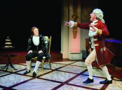 "Matthew Zahnzinger as Salieri, Cody Sloan as Mozart in ""Ama- deus,"" by Moonbox Productions. Photo by Earl Christie"