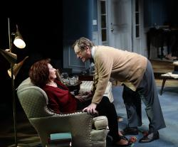 "George and Martha in the Lyric Stage's production of ""Who's Afraid Of Virginia Woolf?"" (Courtesy Mark S. Howard/Lyric Stage)"