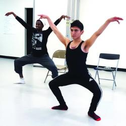 Alex Jimenez (front) and Mckhelen Alcindor (back) in rehearsal