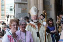 Cardinal Sean greeting people after Mass outside the Cathedral on Easter Sunday. Patrick O'Connor