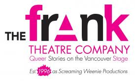"The logo of the frank theatre company which reads ""The frank theatre company Queer Stories on the Vancouver Stage. Est. 1996 as Screaming Weenie Productions. The logo is in black and pink."