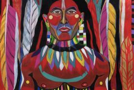 [A colorful painting of an Indigenous person with multi-colored accessories and facial paint standing regally standing in front of different colored feathers.]
