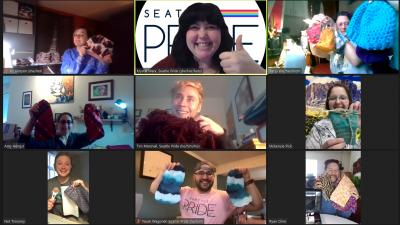 Seattle Pride's Virtual St!tch & B!tch Community Sews  350+ Winter Clothing Items for LGBTQIA+ Homeless Youth