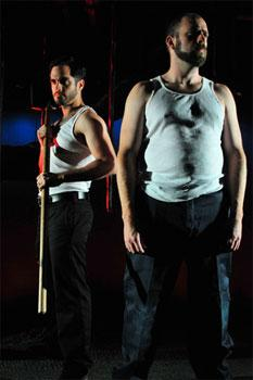 """rancisco Solorzano and Timothy John Smith in """"Last Days"""" at the Gloucester Stage Company."""