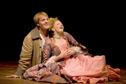 """Geoff Packard and Lauren Molina in """"Candide"""" at the Huntington Theatre Company"""