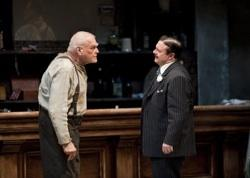 """Brian Dennehy as one-time syndicalist-anarchist Larry Slade with Nathan Lane as Theodore """"Hickey"""" Hickman in Eugene O'Neill's """"The Iceman Cometh"""", directed by Robert Falls at Goodman Theatre"""