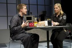 """Daniel Abeles (Greg) and Elizabeth Stanley (Carly) in Philadelphia Theatre Company's production of """"Reasons to be Pretty"""" by Neil LaBute, at the Suzanne Roberts Theatre."""