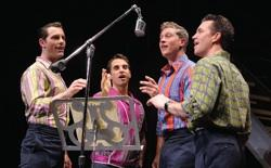 "Brandon Andrus, Brad Weinstock, Jason Kappus and Colby Foytik in ""Jersey Boys"" at Providence Performing Arts Center"