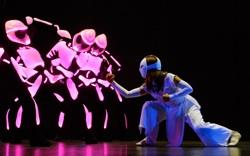 "LaMae Capares as ""Karate Girl"" with the pink robots"